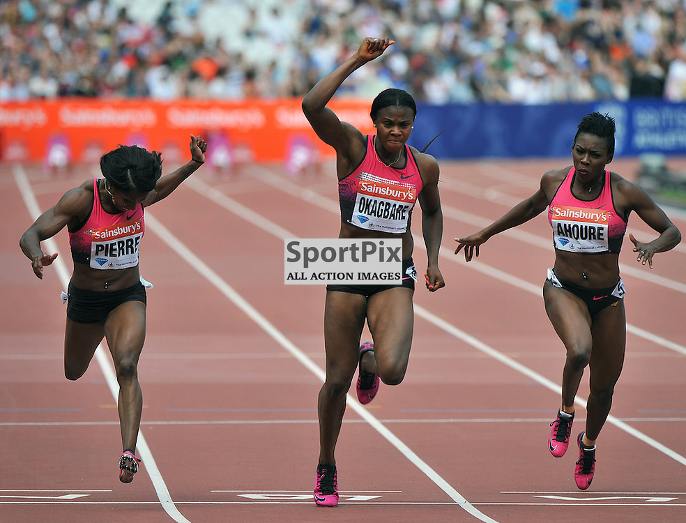 Barbara Pierre, Blessing Okagbare(1st), Murielle Ahoure  in the 2nd 100m heat.<br /> At the IAAF Diamond League - Sainsbury's Anniversary Games held at the London Olympic Stadium, Queen Elizabeth Olympic Park, Stratford, London, UK on the 27th July 2013.<br /> WAYNE NEAL | SPORTPIX.ORG.UK