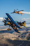 """""""Super Dave"""" Mathieson in his MX2 and Jon Melby in his Pitts S-1-11B Muscle Bi-Plane."""