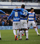 Queens Park Rangers midfielder, Tjaronn Chery (8) and Queens Park Rangers midfielder, (David Hoilett) Junior Hoilett (23) celebrating after scoring during the Sky Bet Championship match between Queens Park Rangers and Birmingham City at the Loftus Road Stadium, London, England on 27 February 2016. Photo by Matthew Redman.