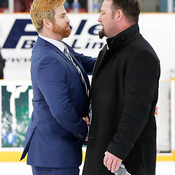 TRENTON, ON  - MAY 5,  2017: Canadian Junior Hockey League, Central Canadian Jr. &quot;A&quot; Championship. The Dudley Hewitt Cup. Game 7 between The Georgetown Raiders and The Powassan Voodoos. Head Coaches of the Powassan Voodoos and Georgetown Raiders shake hands after the game <br /> (Photo by Amy Deroche / OJHL Images)