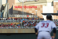 A general view of the stands as Justin Morneau #33 of the Minnesota Twins leads off 3rd base during a game against the Kansas City Royals on June 27, 2013 at Target Field in Minneapolis, Minnesota.  The Twins defeated the Royals 3 to 1.  Photo by Ben Krause
