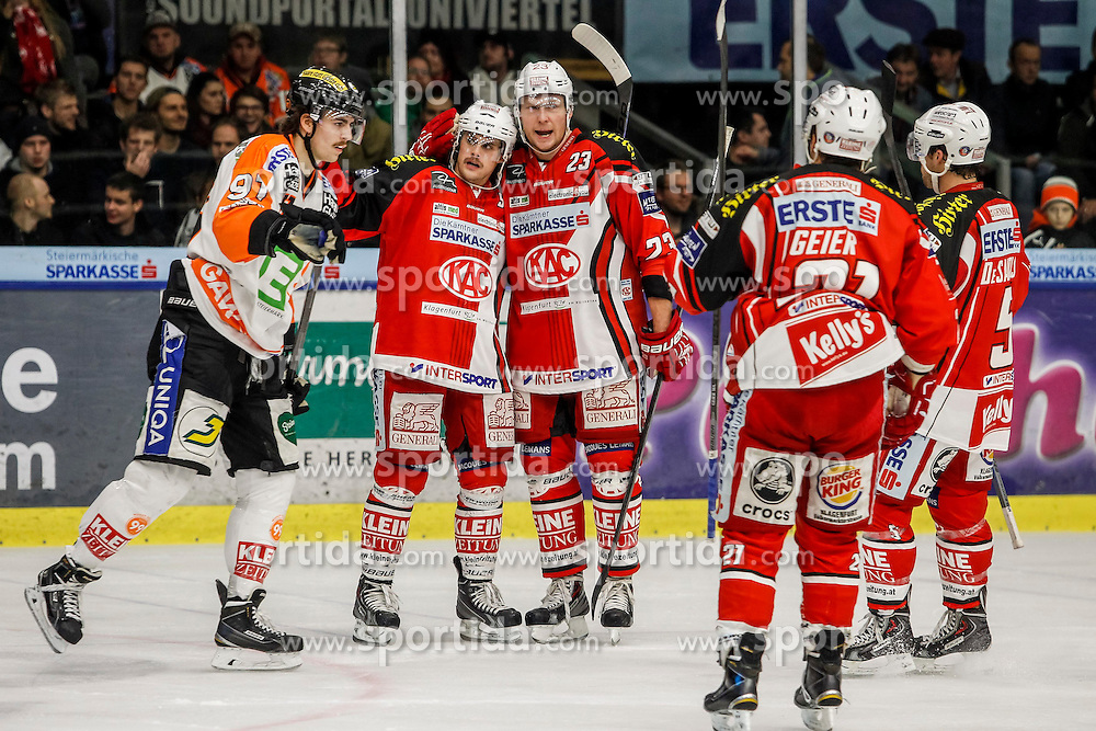20.11.2014, Eisstadion Liebenau, Graz, AUT, EBEL, Moser Medical Graz 99ers vs EC KAC, 19. Runde, im Bild von links Miha Verlic (Moser Medical Graz 99ers), Lukas Pither (EC KAC), Michael Siklenka (EC KAC), Manuel Geier (EC KAC) und Jason Desantis (EC KAC) // during the Erste Bank Icehockey League 19th Round match between Moser Medical Graz 99ers and EC KAC at the Ice Stadium Liebenau, Graz, Austria on 2014/11/20, EXPA Pictures © 2014, PhotoCredit: EXPA/ Erwin Scheriau