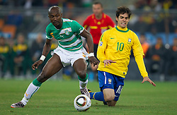 Didier Zokora of Ivory Coast vs Kaka of Brazil during the 2010 FIFA World Cup South Africa Group G Second Round match between Brazil and République de Côte d'Ivoire on June 20, 2010 at Soccer City Stadium in Soweto, suburban Johannesburg, South Africa. (Photo by Vid Ponikvar / Sportida)
