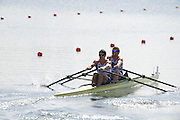 Eton Dorney, Windsor, Great Britain,..2012 London Olympic Regatta, Dorney Lake. Eton Rowing Centre, Berkshire[ Rowing]...Description;  GBR M2X Bow Bill LUCAS and Sam TOWNSEND, move away from the start in their heat of the men's Double Sculls,  Dorney Lake. 12:50:07  Saturday  28/07/2012. [Mandatory Credit: Peter Spurrier/Intersport Images].