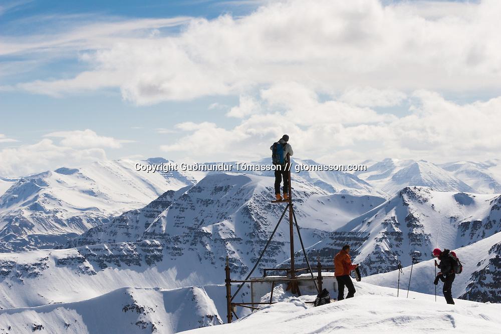 April 25. 2007. Ski touring with Bergmenn Mountain Guides to the top of Mt. Múlakoll 970m. in Ólafsfjörður, Iceland.