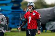 Philadelphia Eagles Nate Sudfeld QB (7) jokes at the end of the practice session during the press, training and media day for Philadephia Eagles at London Irish Training Ground, Hazelwood Centre, United Kingdom on 26 October 2018. Picture by Jason Brown.