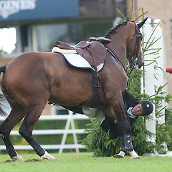 HICKSTEAD ENGLAND. 31-07-2010. Shane Sweetnam (IRL) riding Rolette, competing in The Sky Sports Speed Classic, during The Longines Royal International Horse Show, held at The All England Jumping Course, Hickstead.  Mandatory credit: Mitchell Gunn