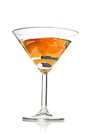 Studio shot of drink in martini glass