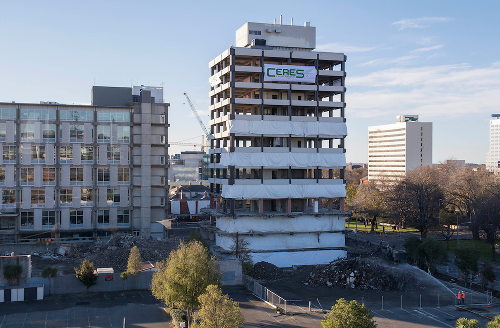 The old Central Police station, damaged in the Christchurch Earthquakes,just before it is demolished by implosion,  Christchurch, New Zealand, Sunday, May 31, 2015. Credit:SNPA / David Alexander.