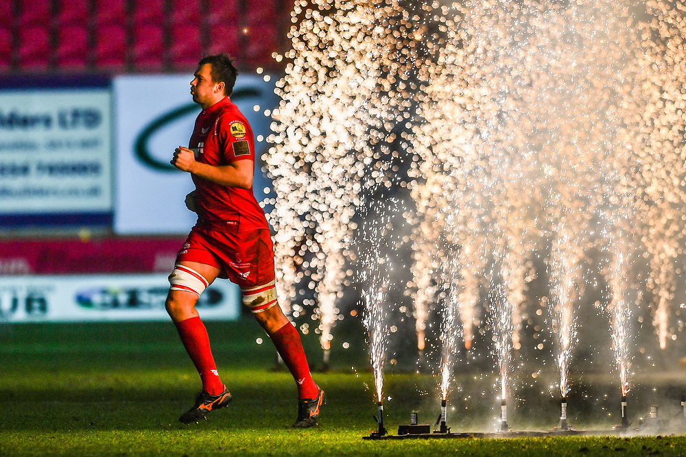 Scarlets' David Bulbring player enter the pitch through fireworks<br /> <br /> Photographer Craig Thomas/Replay Images<br /> <br /> Guinness PRO14 Round 17 - Scarlets v Leinster - Friday 9th March 2018 - Parc Y Scarlets - Llanelli<br /> <br /> World Copyright © Replay Images . All rights reserved. info@replayimages.co.uk - http://replayimages.co.uk