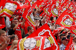 10.08.2013, BayArena, Leverkusen, GER, 1. FBL, Bayer 04 Leverkusen vs SC Freiburg, 1. Runde, im Bild Leverkusener Fans beim ersten Spiel der Saison gegen dem SC Freiburg // during the German Bundesliga 1st round match between Bayer 04 Leverkusen and SC Freiburg at the BayArena, Leverkusen, Germany on 2013/08/10. EXPA Pictures © 2013, PhotoCredit: EXPA/ Eibner/ Grimme<br /> <br /> ***** ATTENTION - OUT OF GER *****