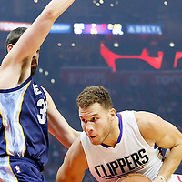 09 November 2015: Los Angeles Clippers forward Blake Griffin (32) drives past Memphis Grizzlies center Marc Gasol (33) during the Los Angeles Clippers 94-92 victory over the Memphis Grizzlies, at the Staples Center, in Los Angeles, California, USA.