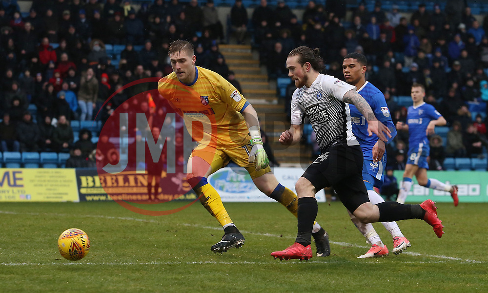 Jack Marriott of Peterborough United is closed down by Tomas Holy of Gillingham - Mandatory by-line: Joe Dent/JMP - 10/02/2018 - FOOTBALL - MEMS Priestfield Stadium - Gillingham, England - Gillingham v Peterborough United - Sky Bet League One