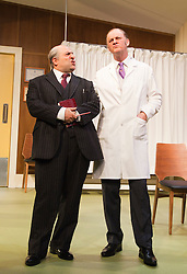 © Licensed to London News Pictures. 09/05/2012. London, England. Omid Djalili as Dr. Rance and Tim McInnerny as Dr. Prentice. What the Butler Saw by Joe Orton and directed by Sean Foley opens at the Vaudeville Theatre, London. Photo credit: Bettina Strenske/LNP