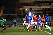 Peterborough United midfielder Michael Bostwick (8) scores a goal  to make the score 1-0 during the Sky Bet League 1 match between Peterborough United and Coventry City at London Road, Peterborough, England on 25 March 2016. Photo by Simon Davies.