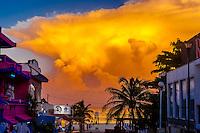 Thunderhead clouds loom over the Caribbean Sea off Playa del Carmen, Riviera Maya, Quintana Roo, Mexico.