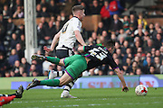 Bristol City defender, Joe Bryan (23) getting fouled for free kick and for the second goal during the Sky Bet Championship match between Fulham and Bristol City at Craven Cottage, London, England on 12 March 2016. Photo by Matthew Redman.