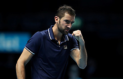 Marin Cilic during his game against Stan Wawrinka during day four of the Barclays ATP World Tour Finals at The O2, London.