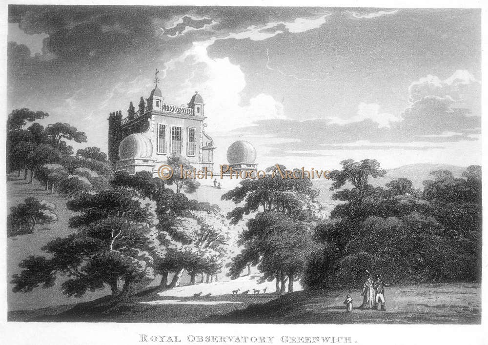 Flamsteed House, Greenwich Park,  near London, England, the Royal Greenwich Observatory. Built by Christopher Wren (1632-1723) on the orders of Charles II with the aim of providing  accurate navigation tables and of solving the problem of finding longitude at sea. Lithograph c1820.