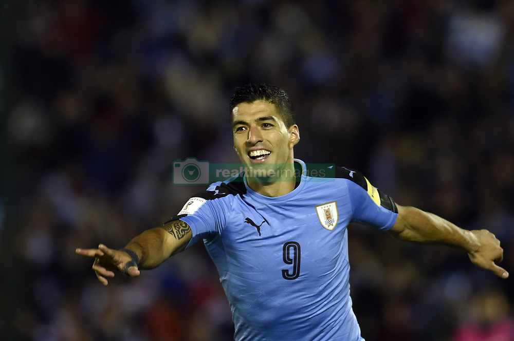 MONTEVIDEO, Oct. 11, 2017  Uruguay's Luis Suarez celebrates after scoring during the Russia 2018 FIFA World Cup qualifier match against Bolivia, at Centenario stadium, in Montevideo, Uruguay, on Oct. 10, 2017. Uruguay won 4-2.  ma) (da) (Credit Image: © [E]Nicolas Celaya/Xinhua via ZUMA Wire)