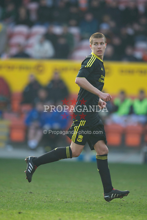 BLACKPOOL, ENGLAND - Wednesday, March 3, 2011: Liverpool's Jakub Sokolik in action against Blackpool during the FA Premiership Reserves League (Northern Division) match at Bloomfield Road. (Photo by David Rawcliffe/Propaganda)