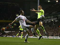 London, England - Wednesday, March 14, 2007: Tottenham Hotspur's Robbie Keane and SC Braga's Paulo Jorge during the UEFA Cup match at White Hart Lane. (Pic by Chris Ratcliffe/Propaganda)
