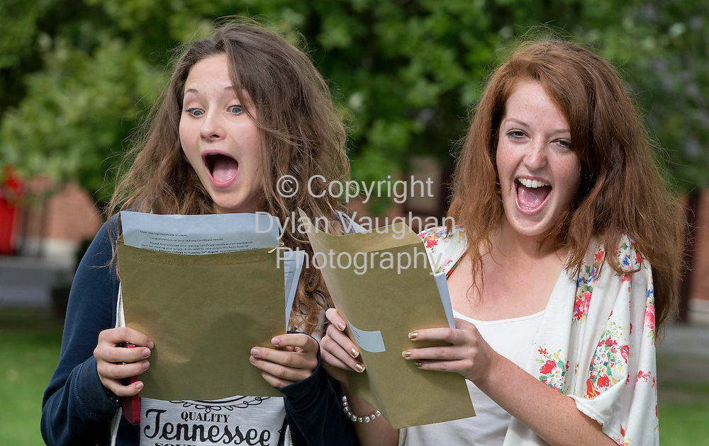 14/8/2013<br /> <br /> From left Anna Booth from The Heath Co Laois and Katie O'Connor from Cashel Co. Tipperery pictured getting the Leaving Certificate results at Kilkenny College.<br /> Picture Dylan Vaughan.
