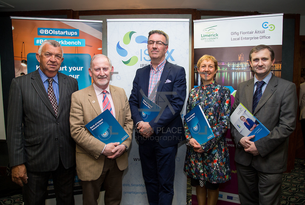 17.05.2016               <br /> A seminar focused on a Start your Own Business programme, targeted at mature entrepreneurs aged 55 plus took place in the Savoy Hotel, Limerick on Tuesday evening, 17 May.  Called Ingenuity, the programme, led by the Ireland Smart Ageing Exchange (ISAX) and sponsored by Bank of Ireland will be run in collaboration with the Local Enterprise Office in Limerick, and will take place over eight weeks, starting in late September 2016.  The seminar provided detailed information on the Start your Own Business programme that will seek interest from those looking to set up both lifestyle and fast-growth businesses.  <br /> <br /> Pictured at the event are, Eamon Ryan, CEO, Local Enterprise Office, Limerick, John McNamara, Entrepreneur-in-Residence LIT, Pat Carroll, Start-up Community Manager, Bank of Ireland, Briga Hynes, UL and Anthony Coleman, Local Enterprise Office, Limerick. Picture: Alan Place