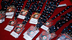 NEWPORT, WALES - Friday, May 29, 2015: Name badges during the Football Association of Wales' National Coaches Conference 2015 at the Celtic Manor Resort. (Pic by David Rawcliffe/Propaganda)