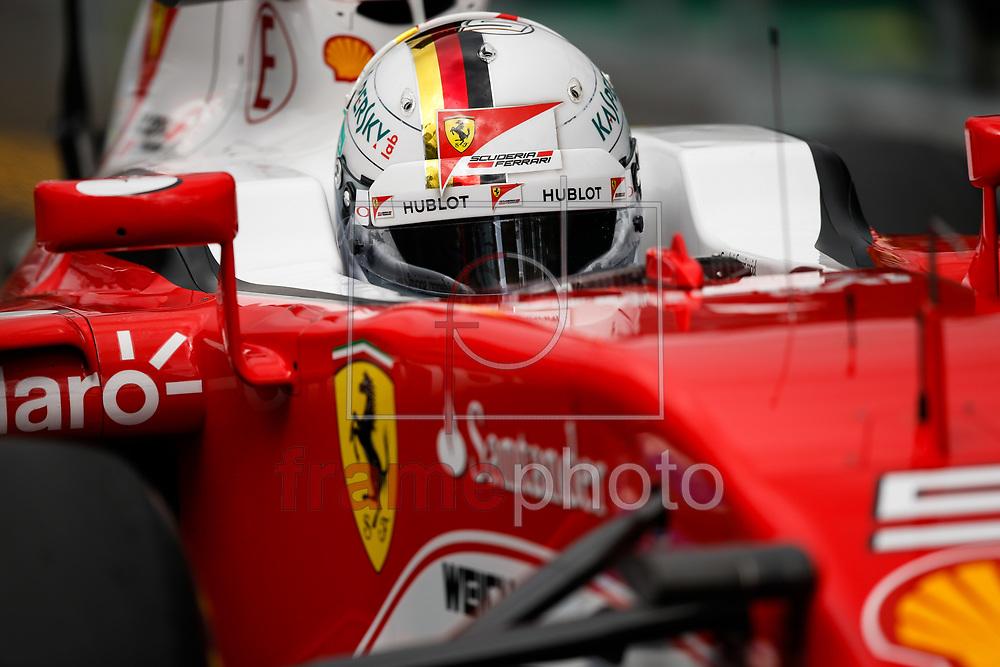 *BRAZIL ONLY* ATENÇÃO EDITOR, FOTO EMBARGADA PARA VEÍCULOS INTERNACIONAIS* O piloto alemão Sebastian Vettel, da equipe Ferrari, durante sessão de treino para o Grande Prêmio de Melbourne de Fórmula 1, nesta sexta-feira (18). Foto: DPPI/FramePhoto