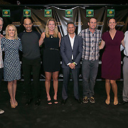 March 6, 2015, Indian Wells, California:<br /> Draw ceremony participants pose for a photograph during the McEnroe Challenge for Charity VIP Draw Ceremony in Stadium 2 at the Indian Wells Tennis Garden in Indian Wells, California Friday, March 6, 2015. From left to right: John McEnroe, Tracy Austin, James Blake, CocoVandeweghe, Joe Kiani, Andy Roddick, Lindsay Davenport, Rick Leach.<br /> (Photo by Billie Weiss/BNP Paribas Open)