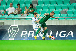 Rudi Požeg Vancaš of Celje vs Marko Putinčanin of Olimpija during football match between NK Olimpija Ljubljana and NK Celje in 3rd Round of Prva liga Telekom Slovenije 2018/19, on Avgust 05, 2018 in SRC Stozice, Ljubljana, Slovenia. Photo by Vid Ponikvar / Sportida