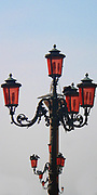 Energy saving eco-friendly lighting on a lamppost in the Piazzetta di San Marco, Venice.