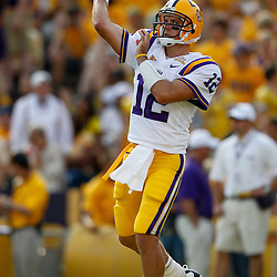 Sep 18, 2010; Baton Rouge, LA, USA;  LSU Tigers quarterback Jarrett Lee (12) throws a pass during warms ups prior to a game against the Mississippi State Bulldogs at Tiger Stadium.  Mandatory Credit: Derick E. Hingle