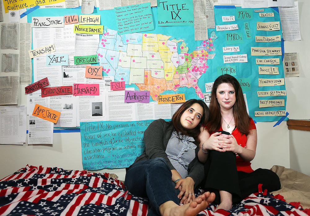 Andrea Pino, left, a student at the University of North Carolina, and Annie Clark, a former student there who now works for the University of Oregon, have started a network of young women raising awareness of rape on college campuses nationwide. A poster in Clark's on-campus apartment documents the scope of the problem.