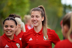 ALHAURÍN EL GRANDE, SPAIN - TUESDAY, MARCH 5, 2019: Wales' Tamsyn Sibanda (L) and goalkeeper Olivia Clarke during a pre-match team walk at the at Alhaurin Golf Resort in Spain. (Pic by David Rawcliffe/Propaganda)