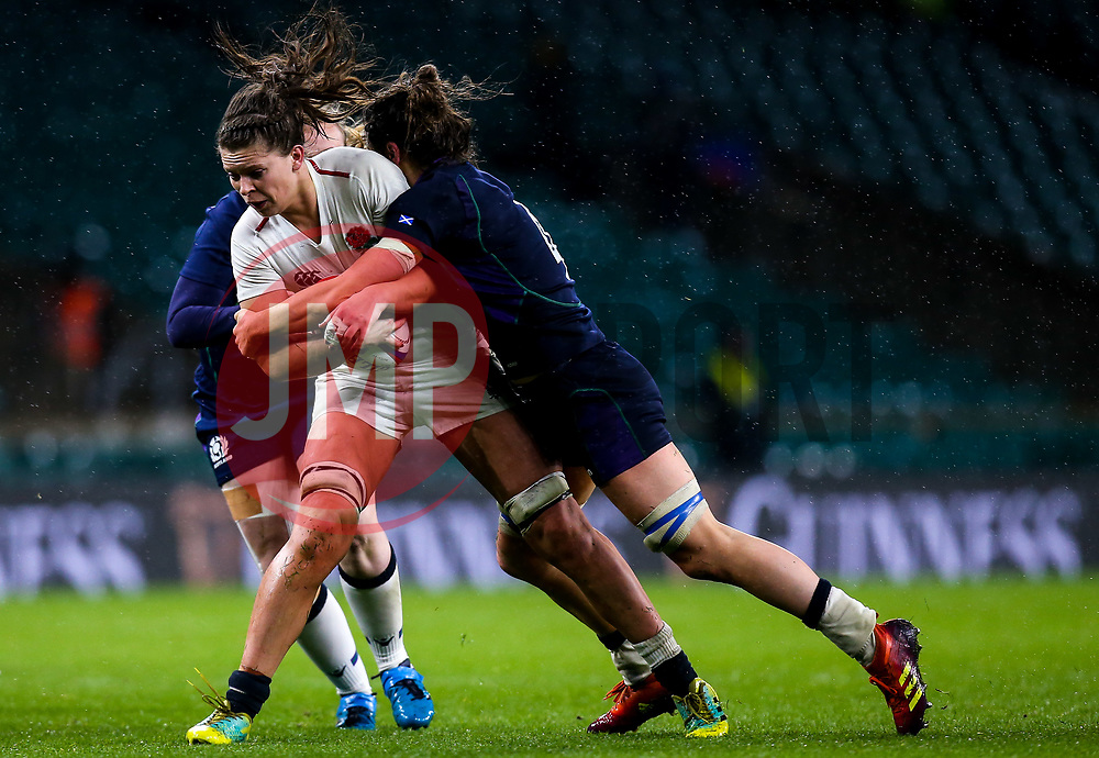 Abbie Scott of England Women is tackled - Mandatory by-line: Robbie Stephenson/JMP - 16/03/2019 - RUGBY - Twickenham Stadium - London, England - England Women v Scotland Women - Women's Six Nations