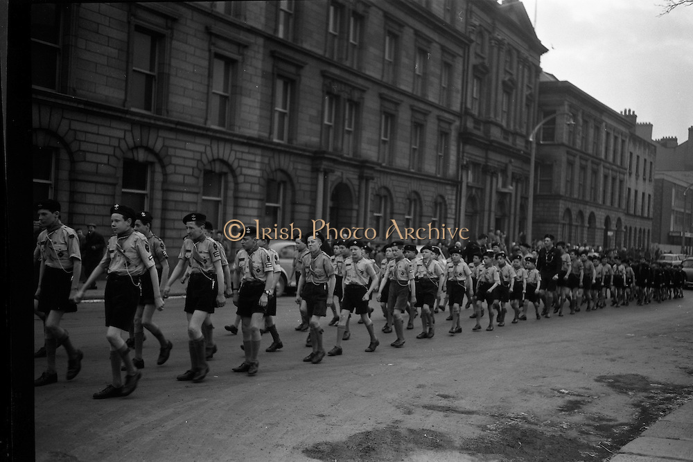 20/01/1963<br /> 01/20/1963<br /> 20 January 1963<br /> CBSI Investiture at Merchants Quay, Dublin. Investiture of 52 Scouts and 30 Macoimh, and presentation of 4 commissions to Scout Masters at the Franciscan Church. Picture shows the Scouts marching to the church.