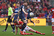 Leeds United midfielder Stuart Dallas (15) battles for the ball during the EFL Sky Bet Championship match between Bristol City and Leeds United at Ashton Gate, Bristol, England on 9 March 2019.