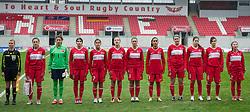 LLANELLI, WALES - Thursday, March 31, 2011: Turkey's players line-up before the UEFA European Women's Under-19 Championship Second Qualifying Round (Group 3) match against Iceland at Parc Y Scarlets. L-R: captain Didem Karagenc?, goalkeeper Go?kc?em Elmira Can, Elif Deniz, Sevgi C?inar, Gu?lbin Hiz, Gizem Go?nu?ltas, Emine Demir, Melisa Dilber Ertu?rk, Leyla Gu?ngo?r, Sibel Tezkan, Sevilay Ankit. (Photo by David Rawcliffe/Propaganda)