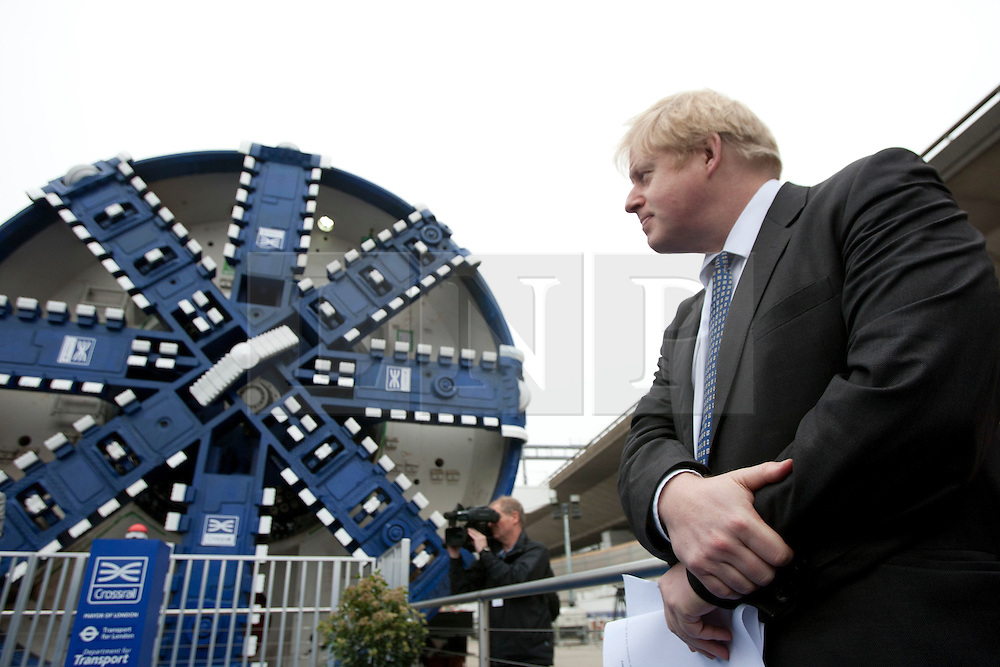 © licensed to London News Pictures. London, UK 13/03/2012. Mayor of London, Boris Johnson is pictured with a Crossrail tunnel boring machine in Westbourne Park this morning. Photo credit: Tolga Akmen/LNP