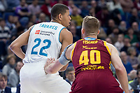 Real Madrid Walter Tavares and Herbalife GC Luke Fischer during Liga Endesa match between Real Madrid and Herbalife GC at Wizink Center in Madrid, Spain. December 03, 2017. (ALTERPHOTOS/Borja B.Hojas)