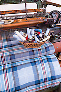 Highland Tartan fabric on traditional weaving loom at Lochcarron Weavers in Lochcarron in the Highlands of Scotland