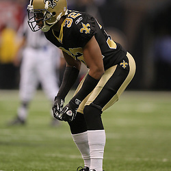 16 January 2010: New Orleans Saints cornerback Jabari Greer (32) lines up for a play during a 45-14 win by the New Orleans Saints over the Arizona Cardinals in a 2010 NFC Divisional Playoff game at the Louisiana Superdome in New Orleans, Louisiana.