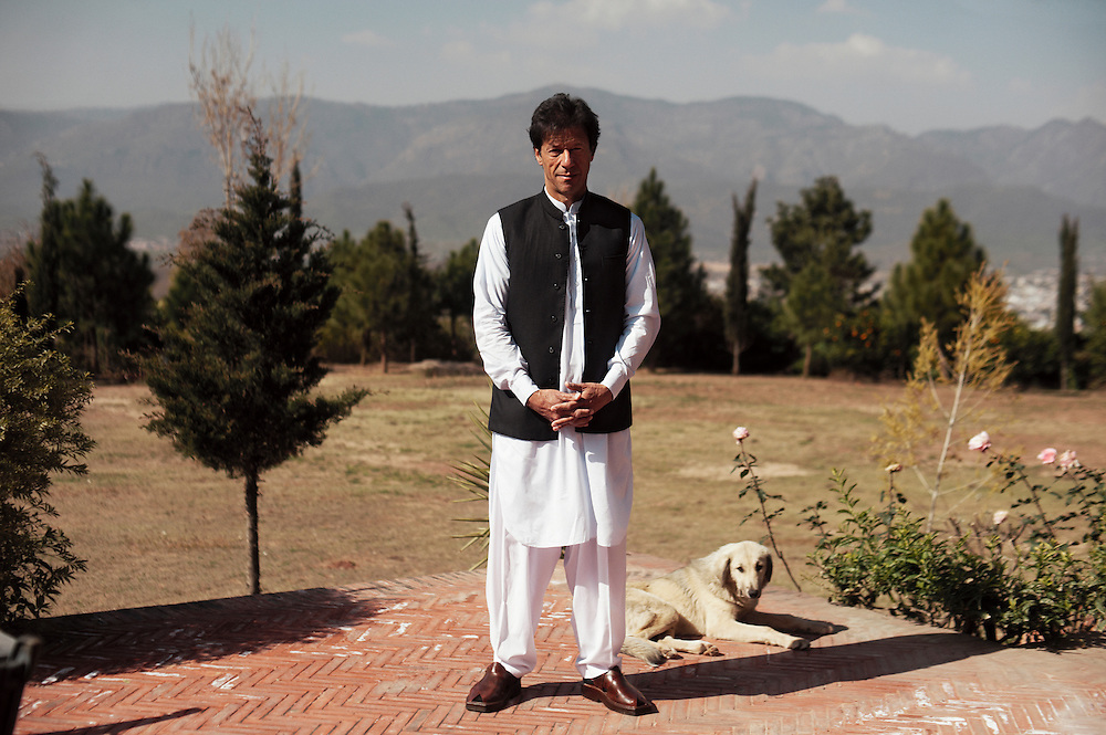 Imran Khan at his home in Bani Gala, Islamabad, Pakistan on February 23, 2012. Former Pakistani cricket fast blower and philanthropist Imran Khan is the leader of the political party Pakistan Tehreek-e-Insaf (PTI), a centrist; progressive party that has established itself as one of the country's mainstream national contenders for 2012 elections.