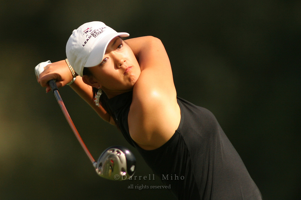March 27, 2005; Rancho Mirage, CA, USA;  15 year old amateur Michelle Wie tees off at the 2nd hole during the final round of the LPGA Kraft Nabisco golf tournament held at Mission Hills Country Club.  Wie shot a 1 under par 71 for the day and an even par 288 for the tournament and finished tied for 14th and won the award for low amateur.<br />Mandatory Credit: Photo by Darrell Miho <br />&copy; Copyright Darrell Miho