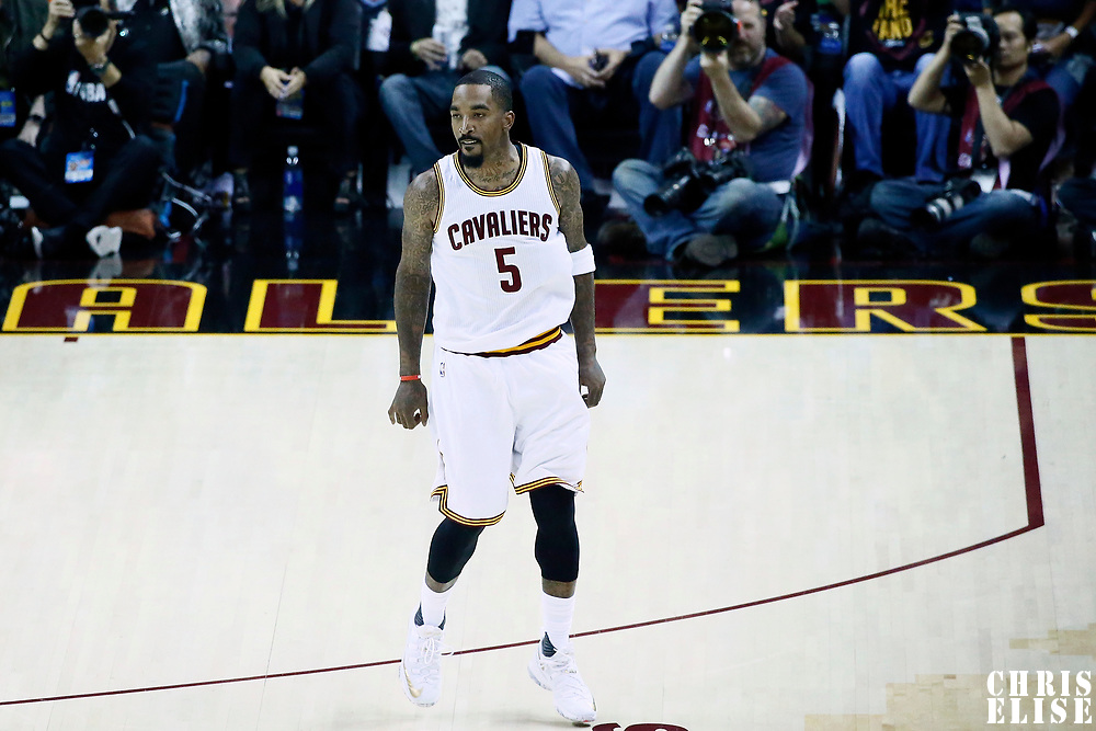 07 June 2017: Cleveland Cavaliers guard JR Smith (5) celebrates during the Golden State Warriors 118-113 victory over the Cleveland Cavaliers, in game 3 of the 2017 NBA Finals, at  the Quicken Loans Arena, Cleveland, Ohio, USA.