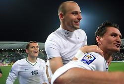 Darijan Matic (15), Miso Brecko (2) and Andraz Kirm (17)  after the fourth round qualification game of 2010 FIFA WORLD CUP SOUTH AFRICA in Group 3 between Slovenia and Northern Ireland at Stadion Ljudski vrt, on October 11, 2008, in Maribor, Slovenia.  (Photo by Vid Ponikvar / Sportal Images)