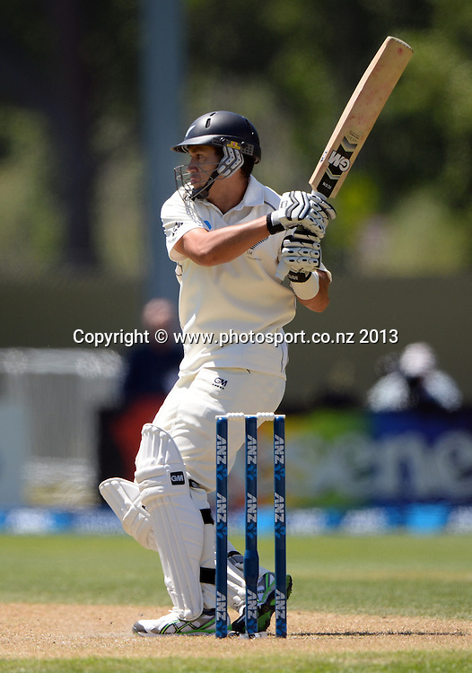 Ross Taylor batting on Day 2 of the 1st cricket test match of the ANZ Test Series. New Zealand Black Caps v West Indies at University Oval in Dunedin. Wednesday 4 December 2013. Photo: Andrew Cornaga/www.Photosport.co.nz