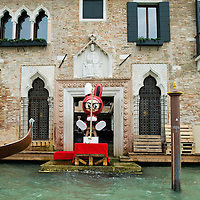 "VENICE, ITALY - JUNE 02:  ""Fishing Rabbit"" an installation by No2Good is seen from the Grand Canal part of the Exhibition Future Pass on June 2, 2011 in Venice, Italy. The Venice Art Biennale will run from June 4 to November 27, 2011."